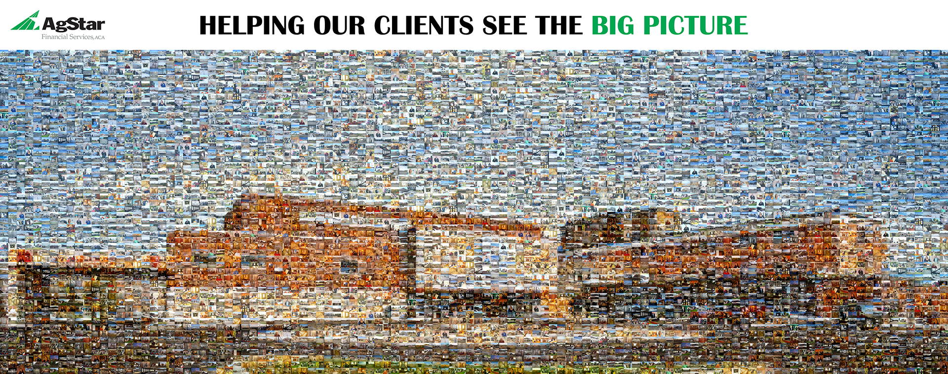 photo mosaic this Agstar Financial Services mural was designed using over 400 company photos