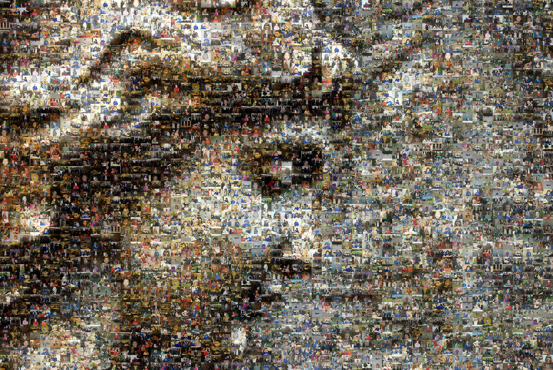 photo mosaic a carving from the side of a school building was used as the source image with 442 student photos for the cell images