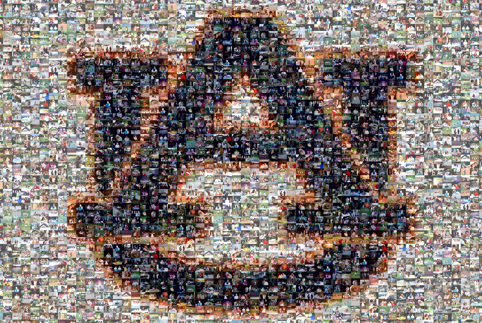 photo mosaic created using 280 family photos