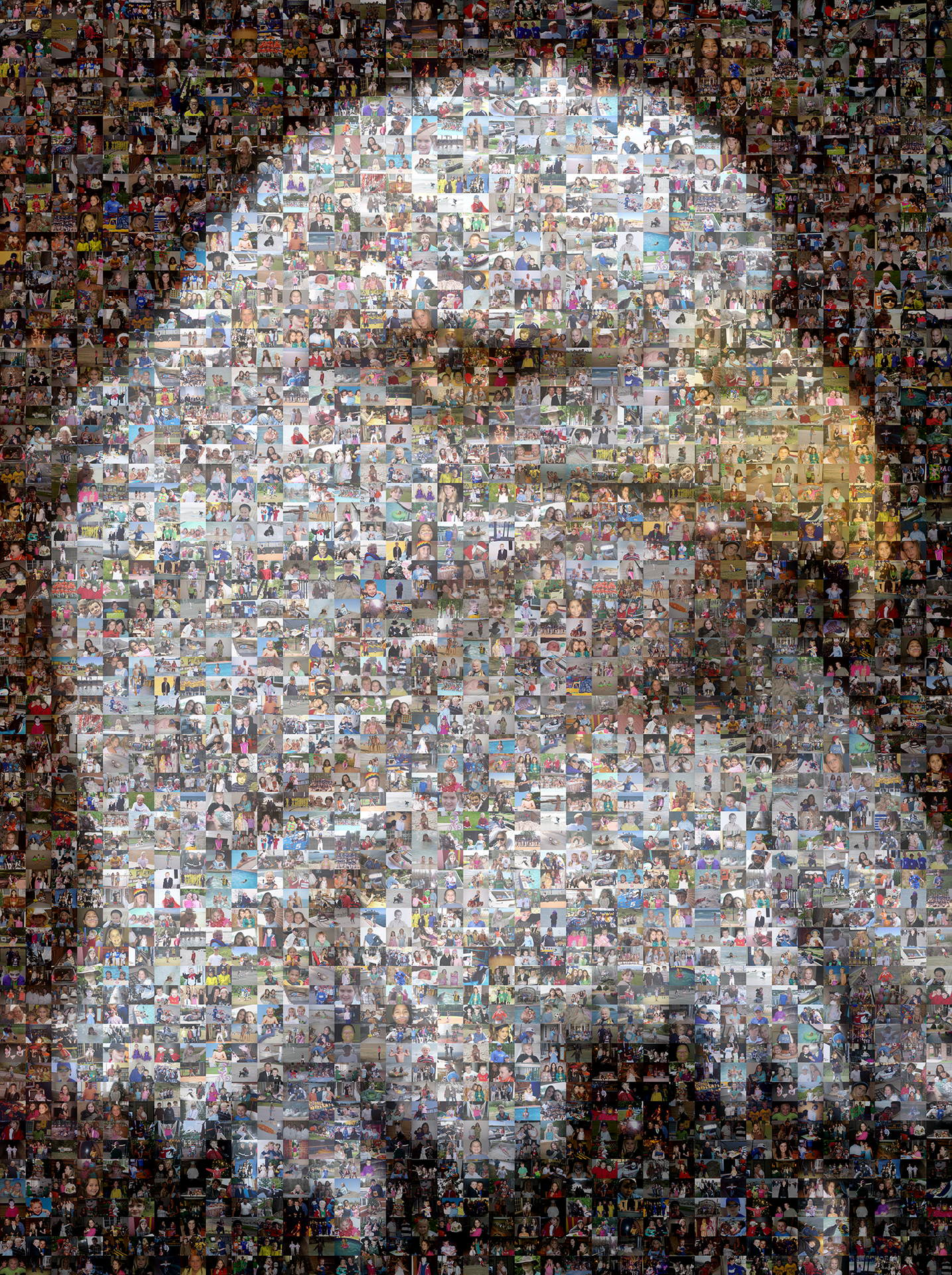 photo mosaic created using 877 family photos