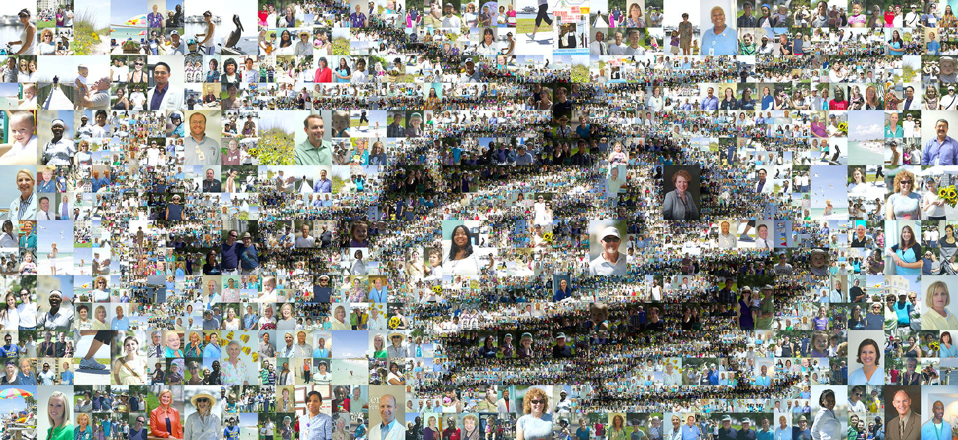 photo mosaic A multi-size cell billboard advertisement using over 600 photos of Bayfront Health System employees