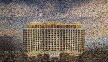 1300 cells were used to create this stunning mural of the Beau Rivage Resort & Casino