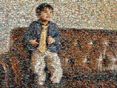 distance portrait of young boy using 534 photos of his childhood
