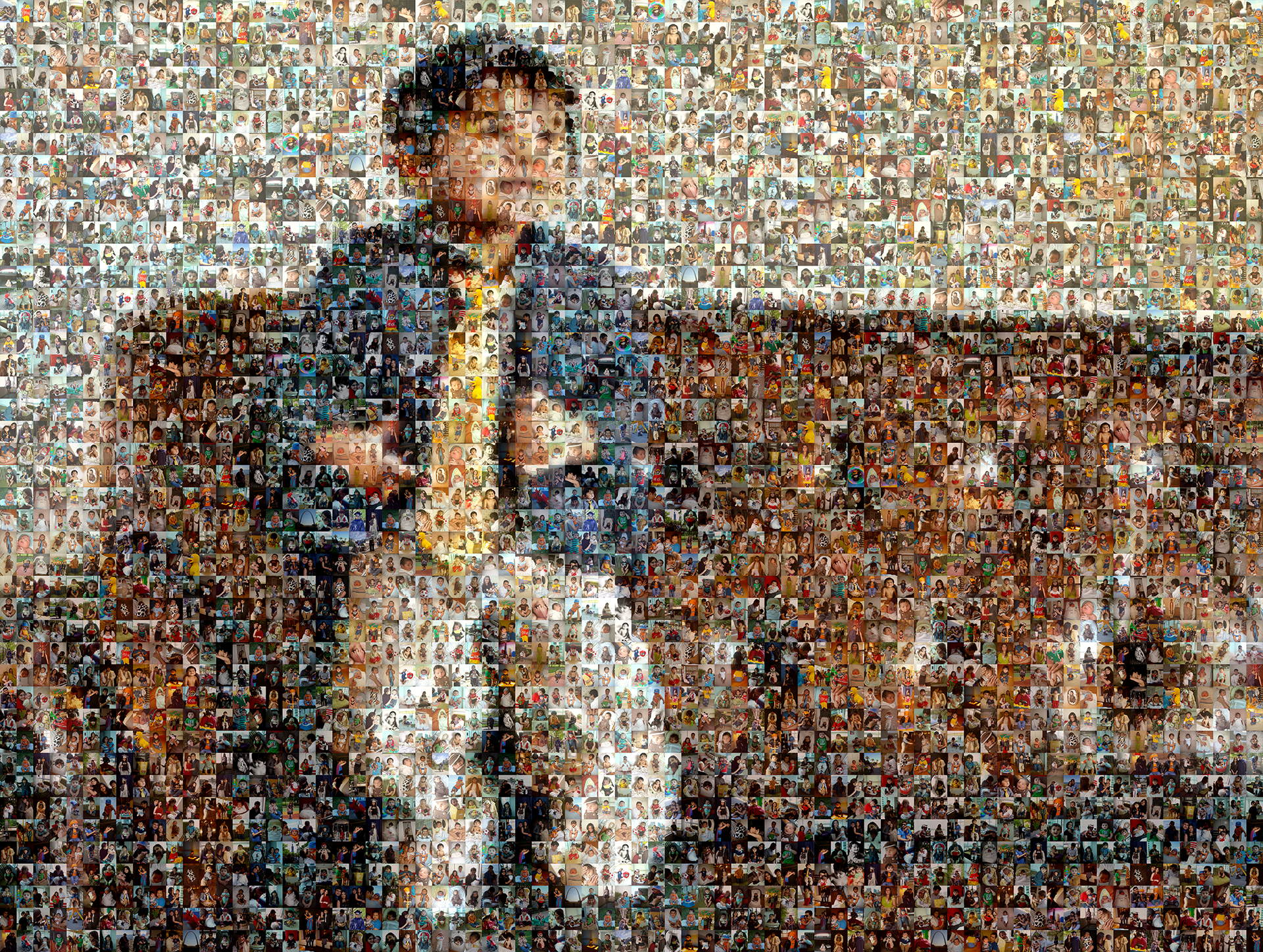 photo mosaic distance portrait of young boy using 534 photos of his childhood