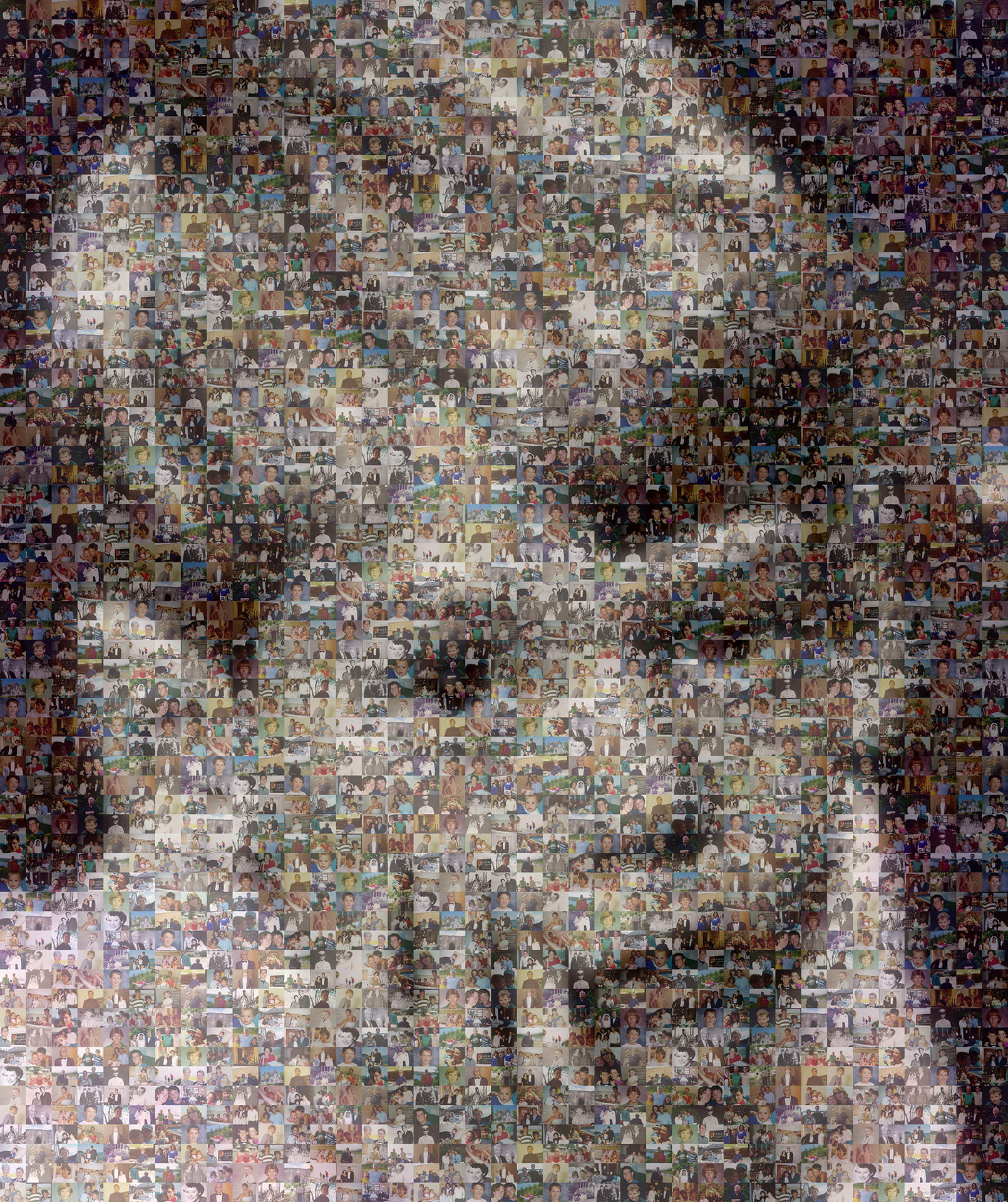photo mosaic created using only 103 customer selected color and black white photos
