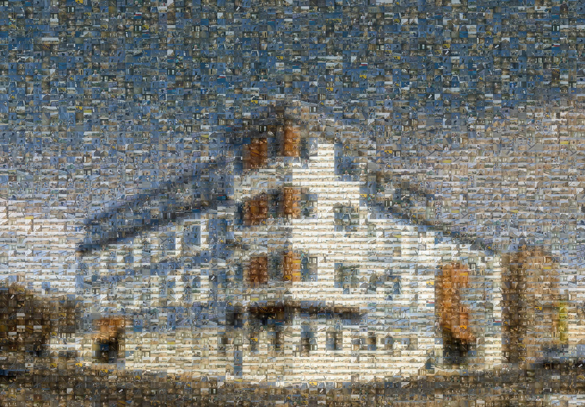 photo mosaic created using 1150 photos of the building being constructed
