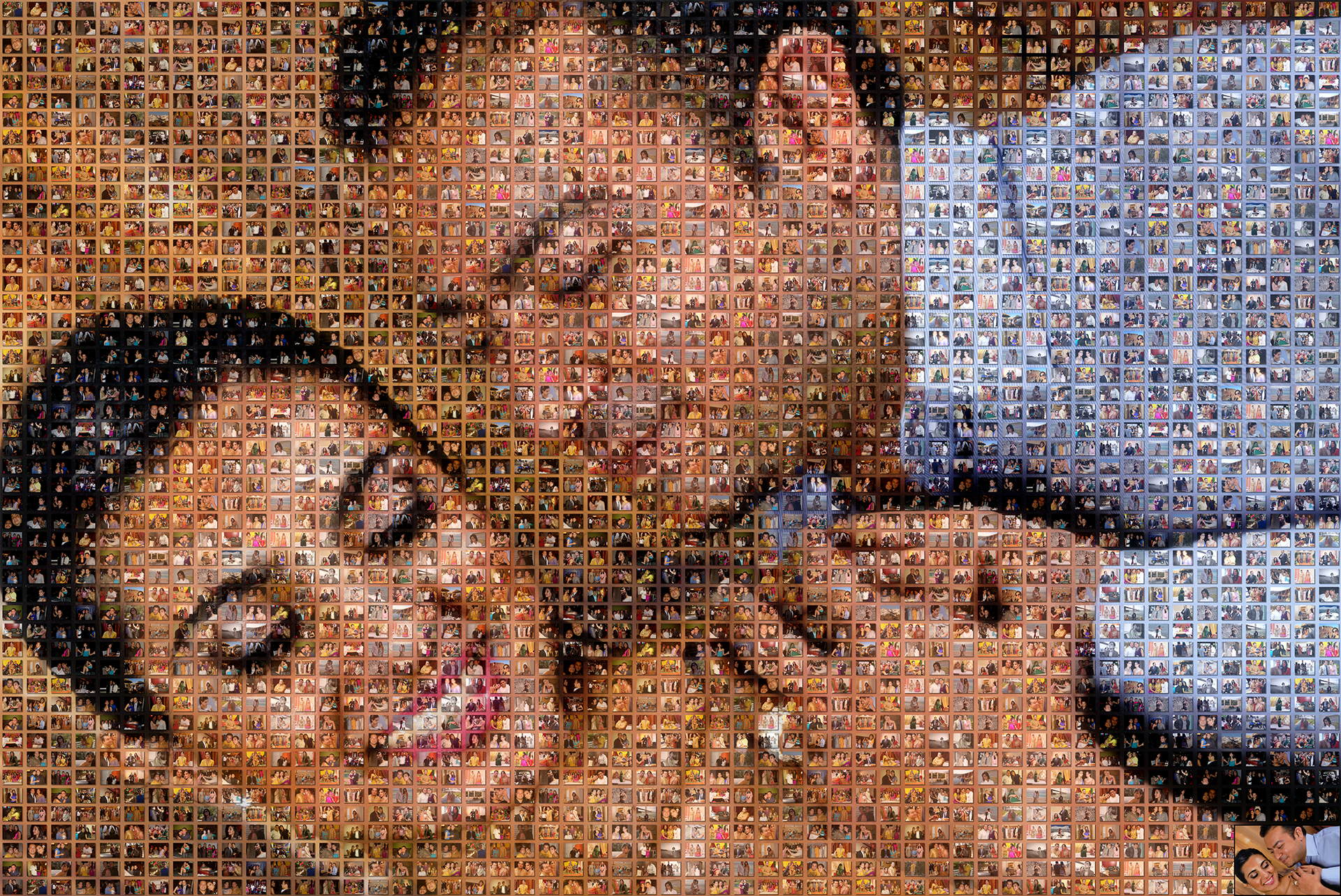 photo mosaic created using 186 photos of this loving couple