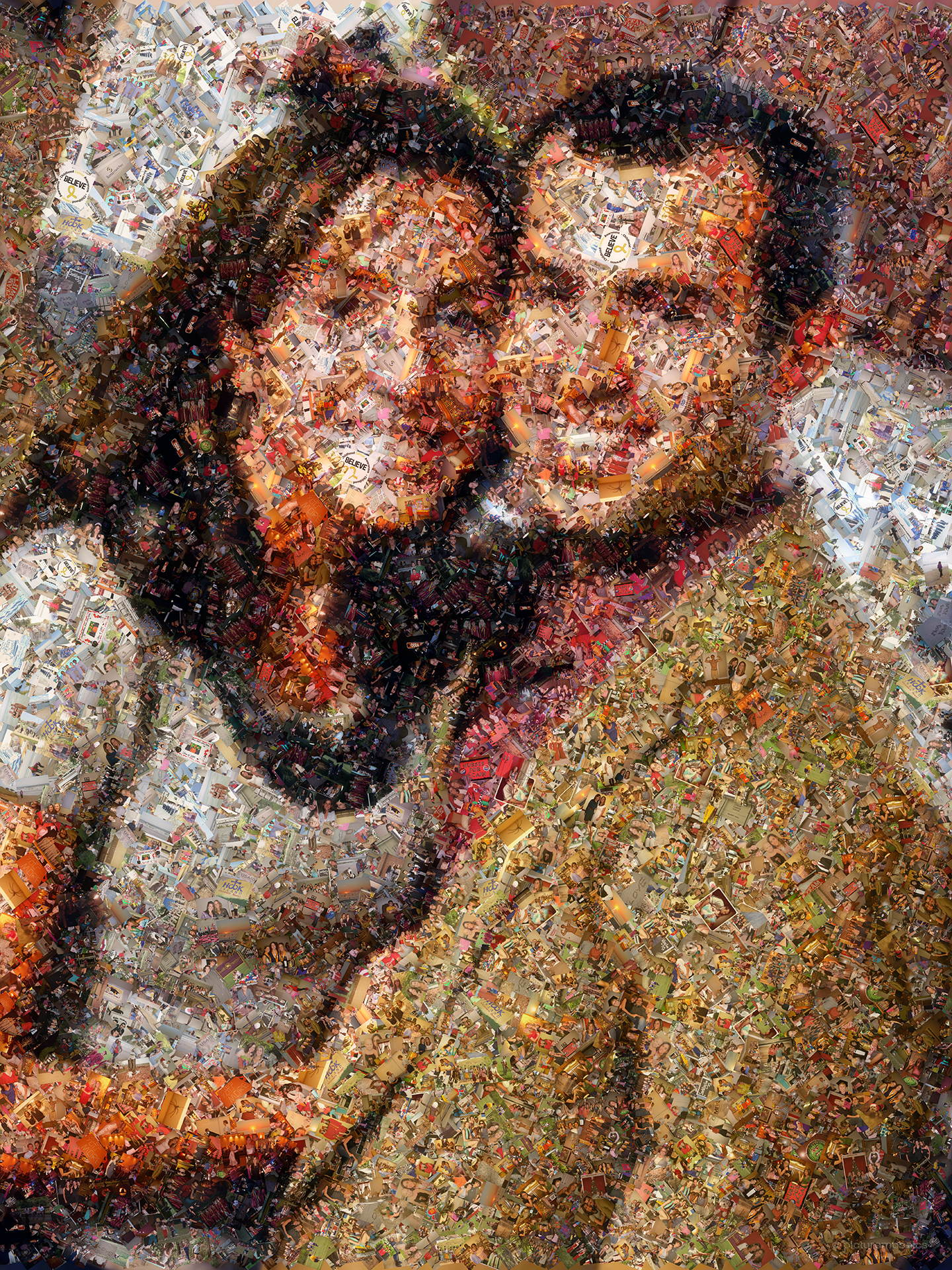 photo mosaic this scatter style was made using 1,560 photos of the couple since they first met