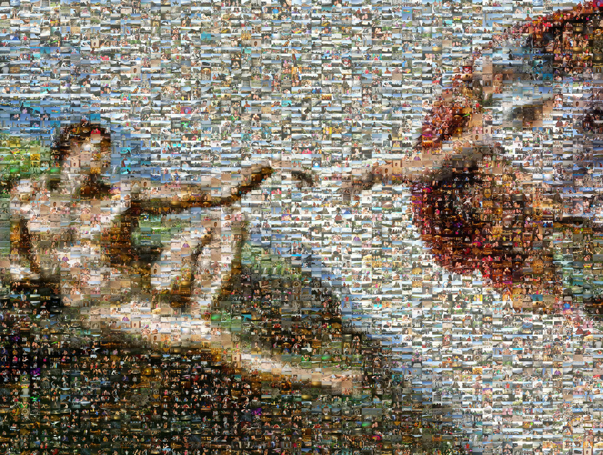 photo mosaic created the famous part of the Sistine Chapel using 1,235 vacation photos