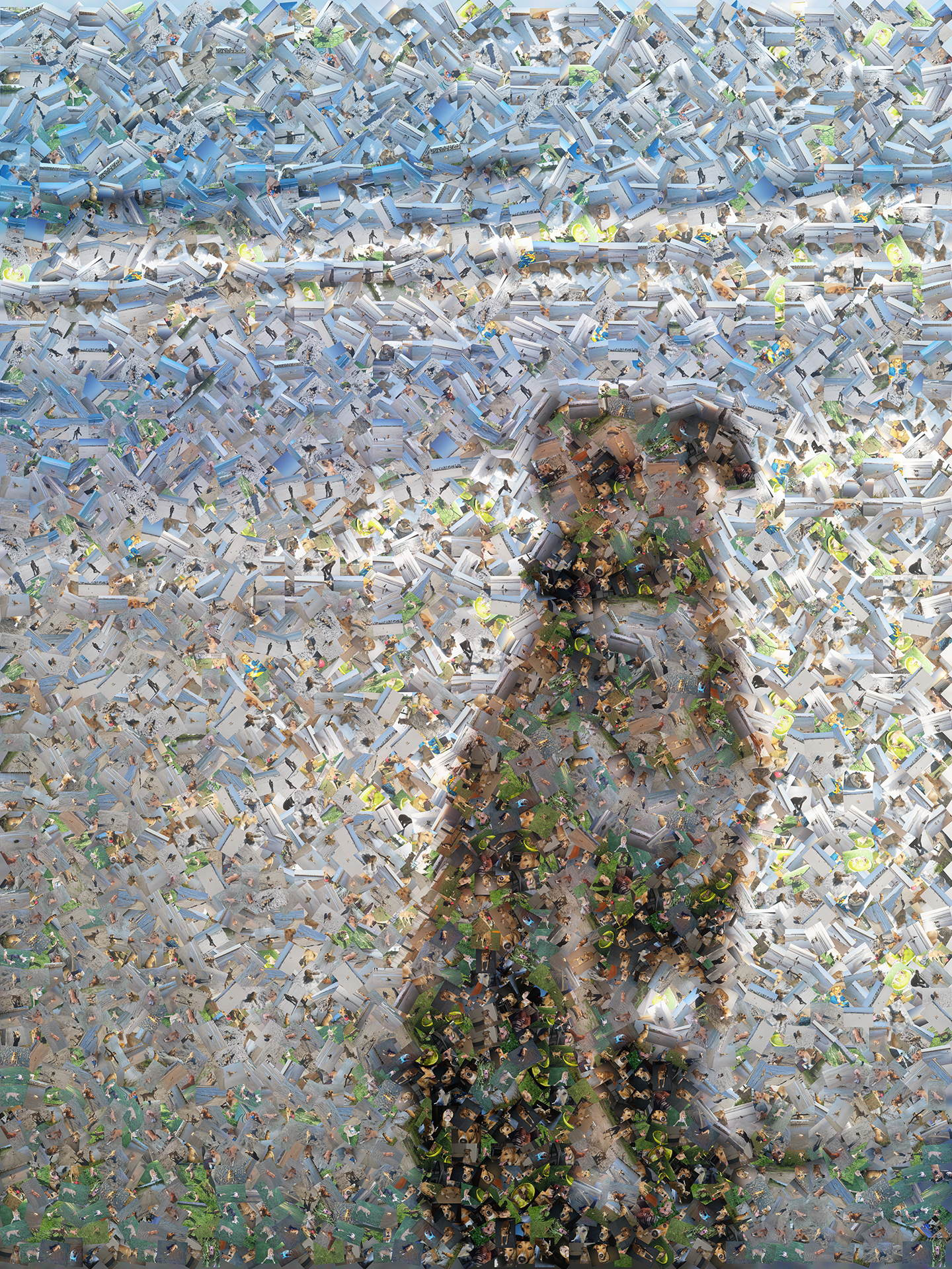 photo mosaic a serene dog sitting on the beach, created using 289 photos