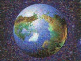 3D Earth mosaic (looking down at the top of the Earth) created using 583 photos of microorganisms