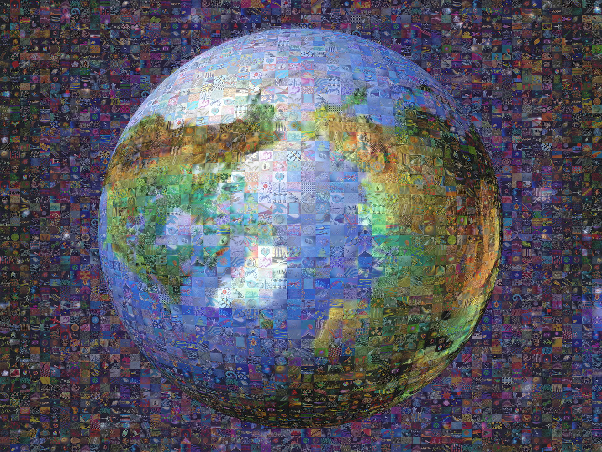 photo mosaic 3D Earth mosaic (looking down at the top of the Earth) created using 583 photos of microorganisms