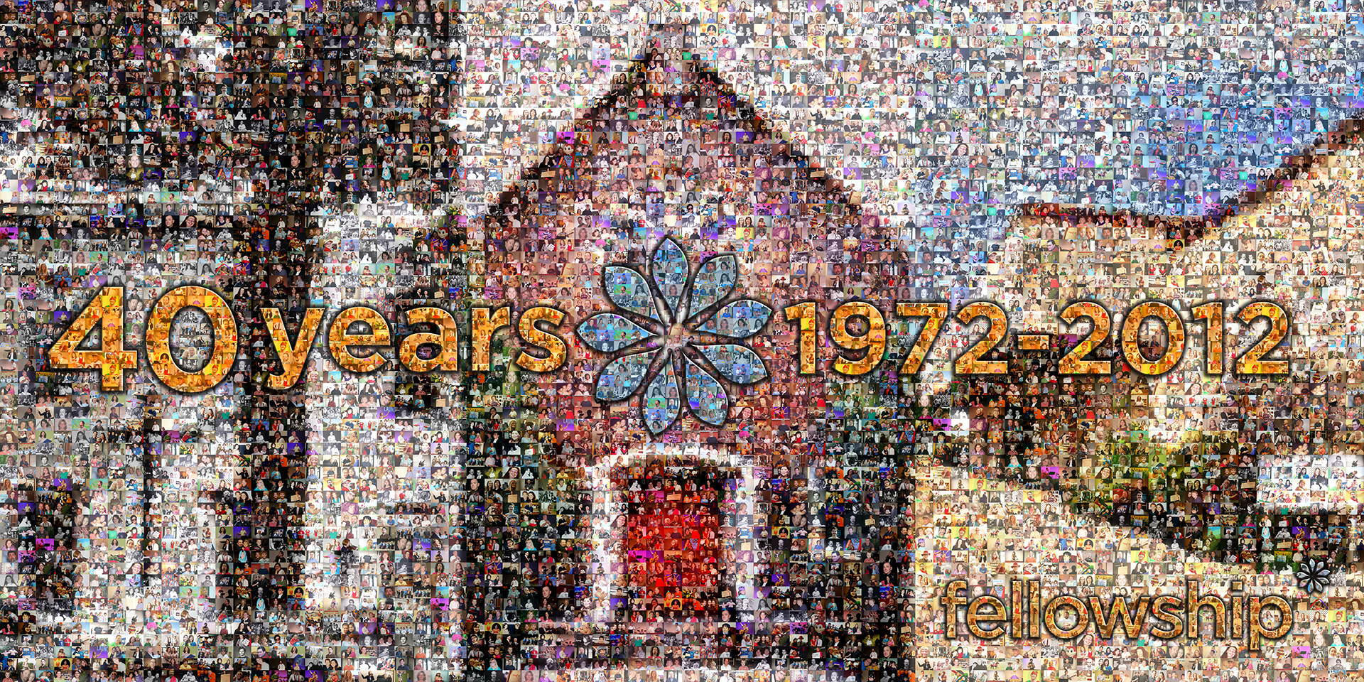 photo mosaic created using a combination of black and white and color photos from churches lineage