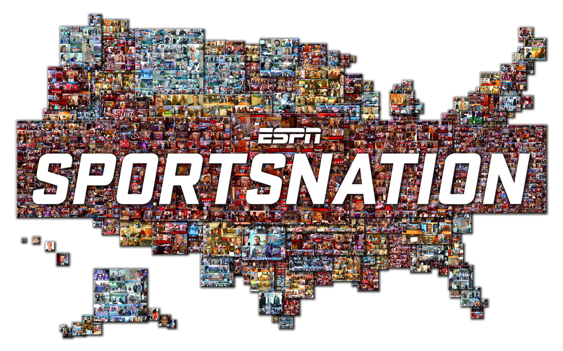 photo mosaic created using over 1200 photos of cast and crew of Sportsnation