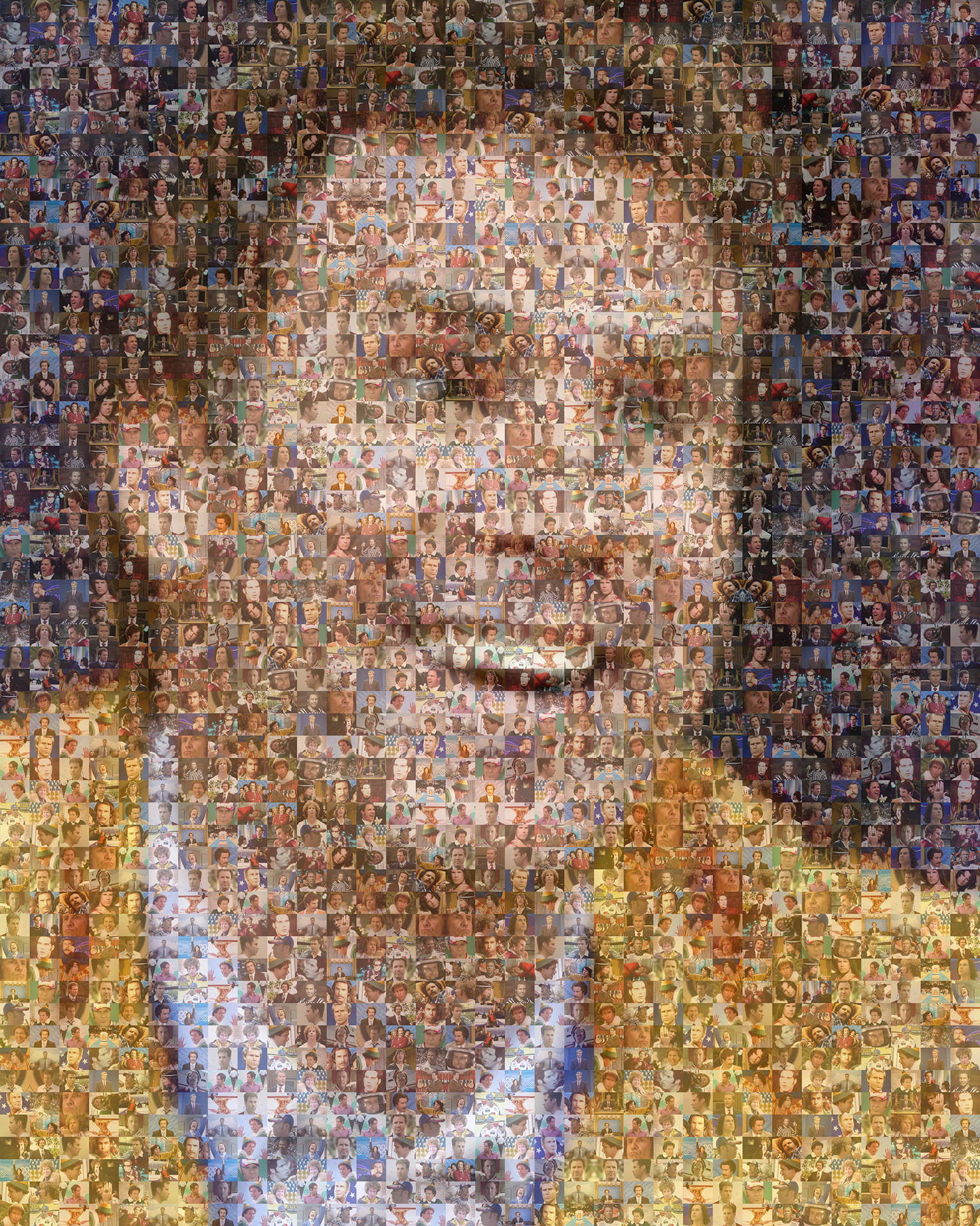 photo mosaic Using only 130 photos his movies, we created this stunning portrait of Will Ferrell