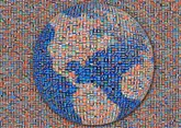 Simplified 3D Earth mosaic created using every national flag