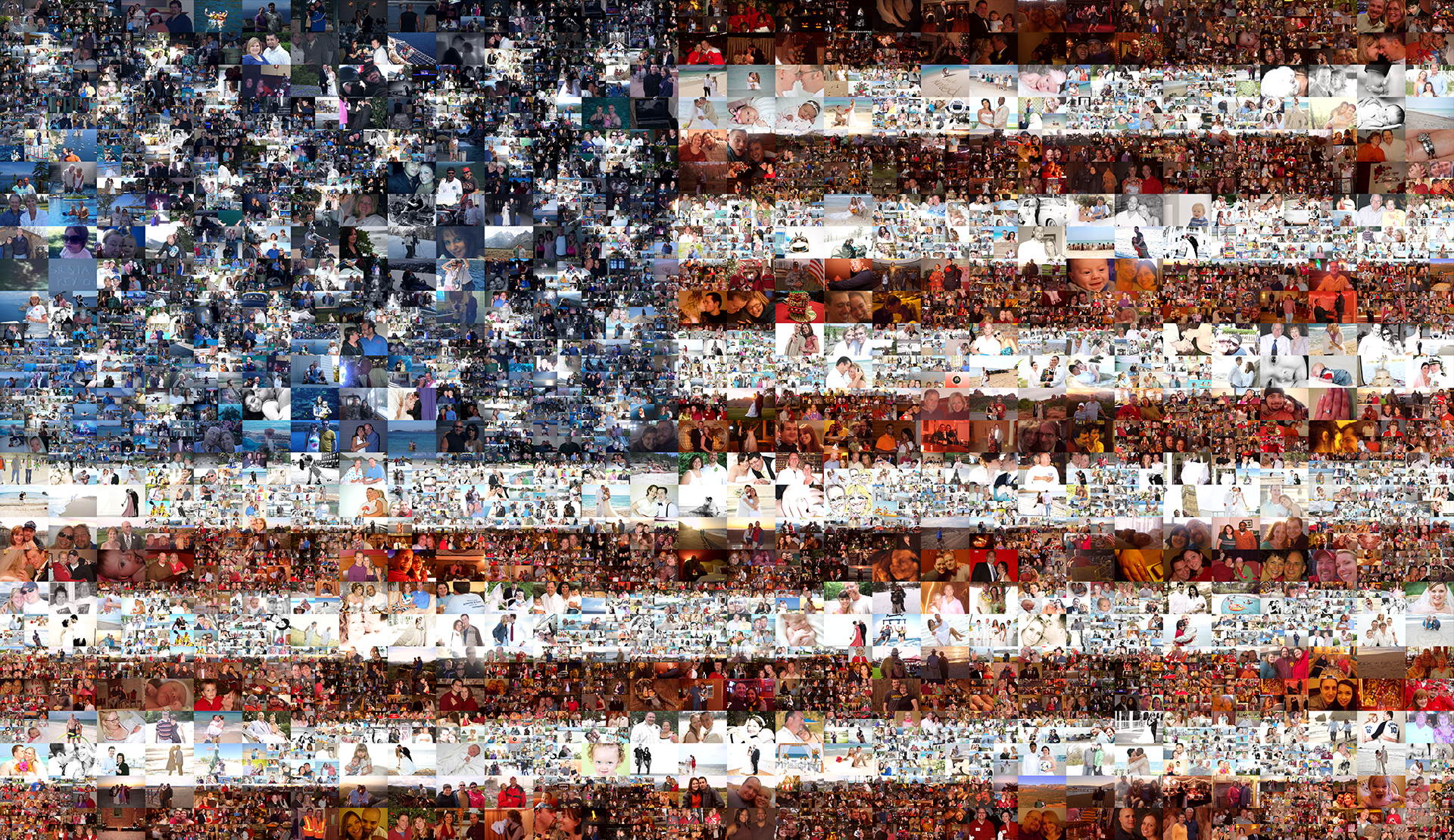 photo mosaic A multi-size cell mosaic mural created using over 10,000 select photos