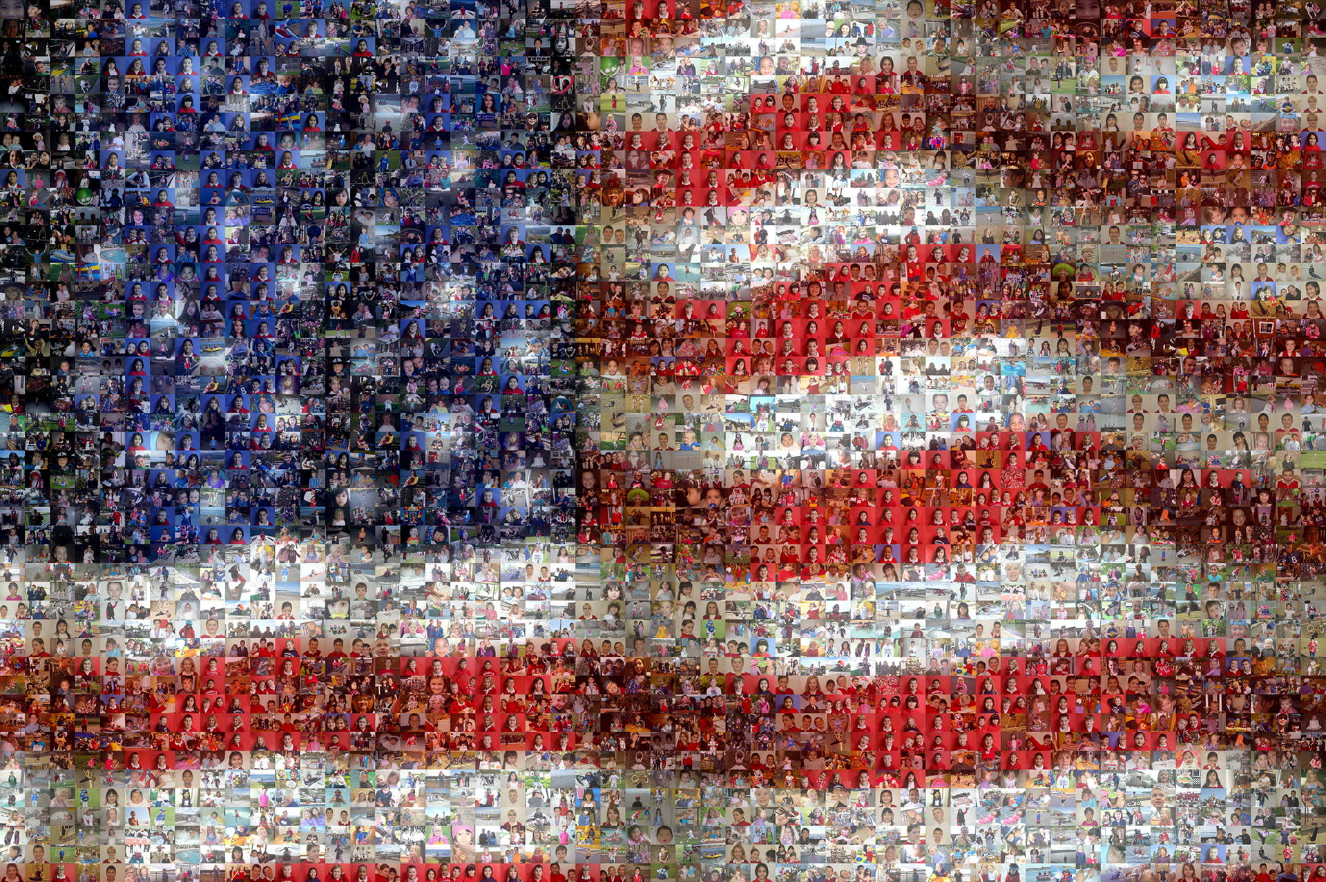 photo mosaic this flag was created using 1550 student photos