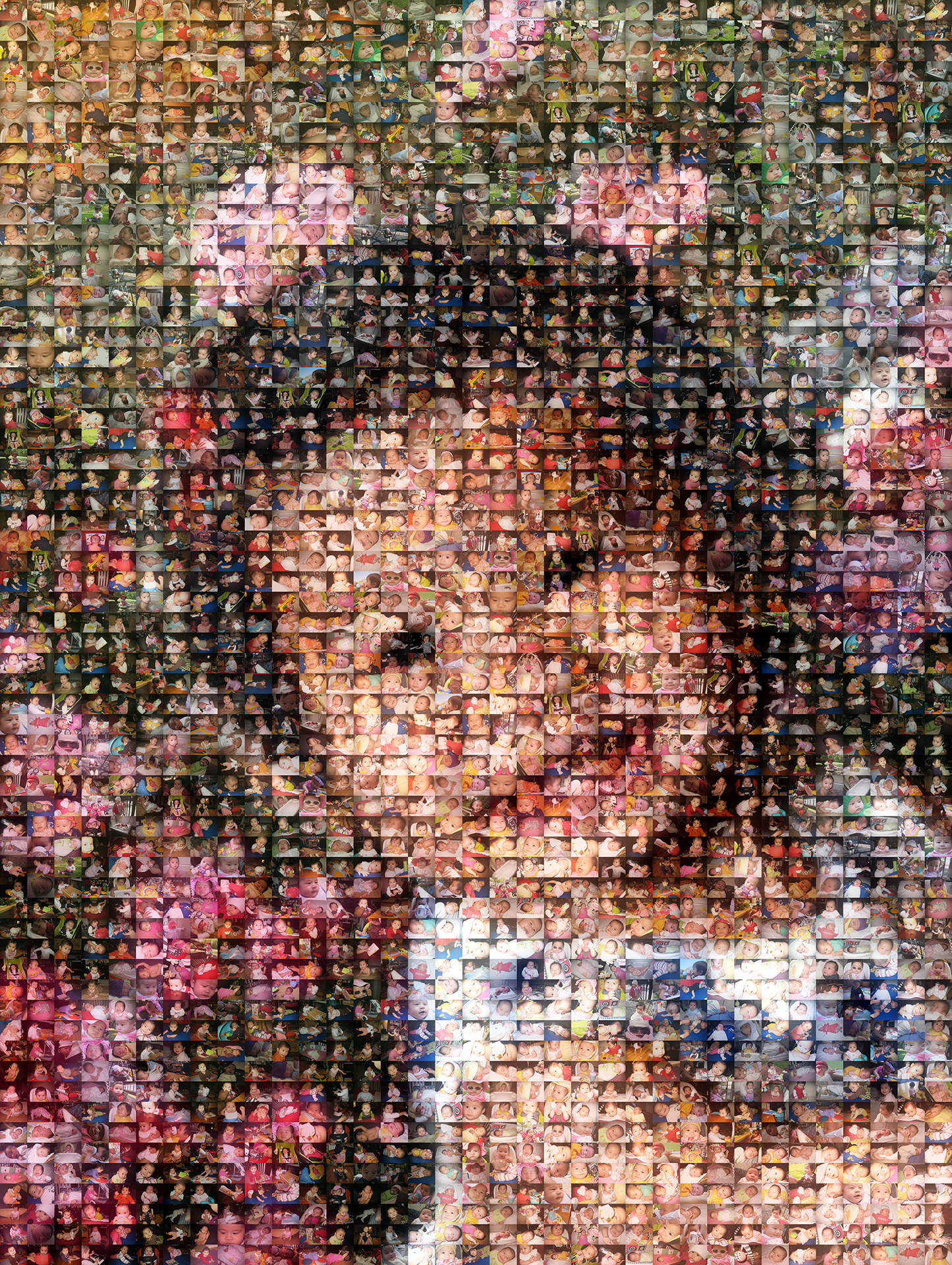 photo mosaic created using 524 baby photos