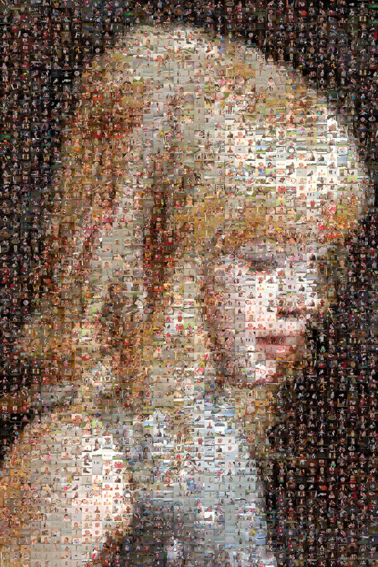photo mosaic created using over 2,400 family photos