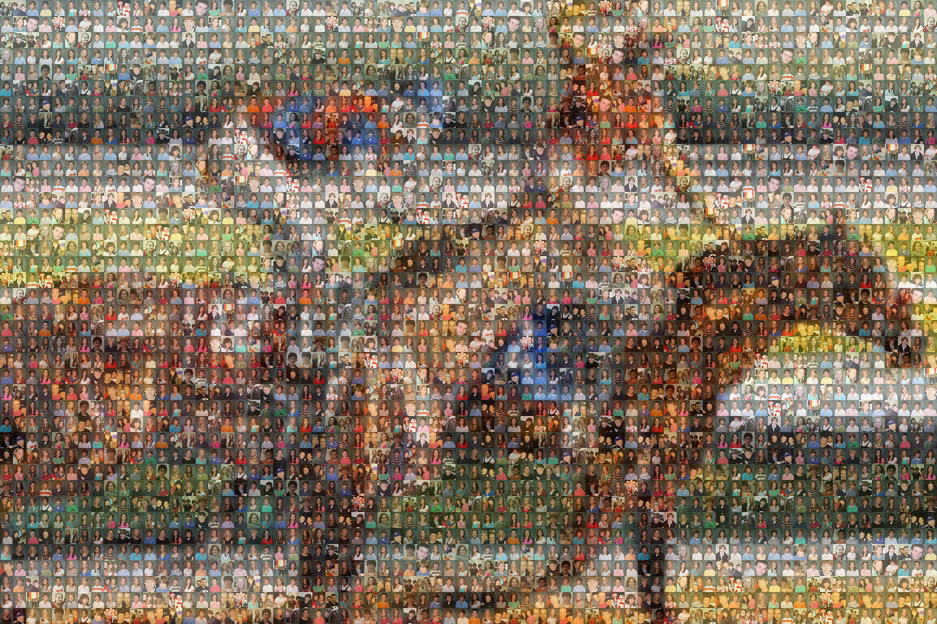 photo mosaic created using 149 student portraits
