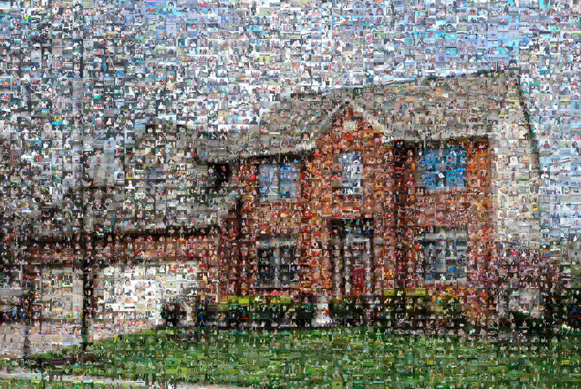 photo mosaic created using over 2300 family photos