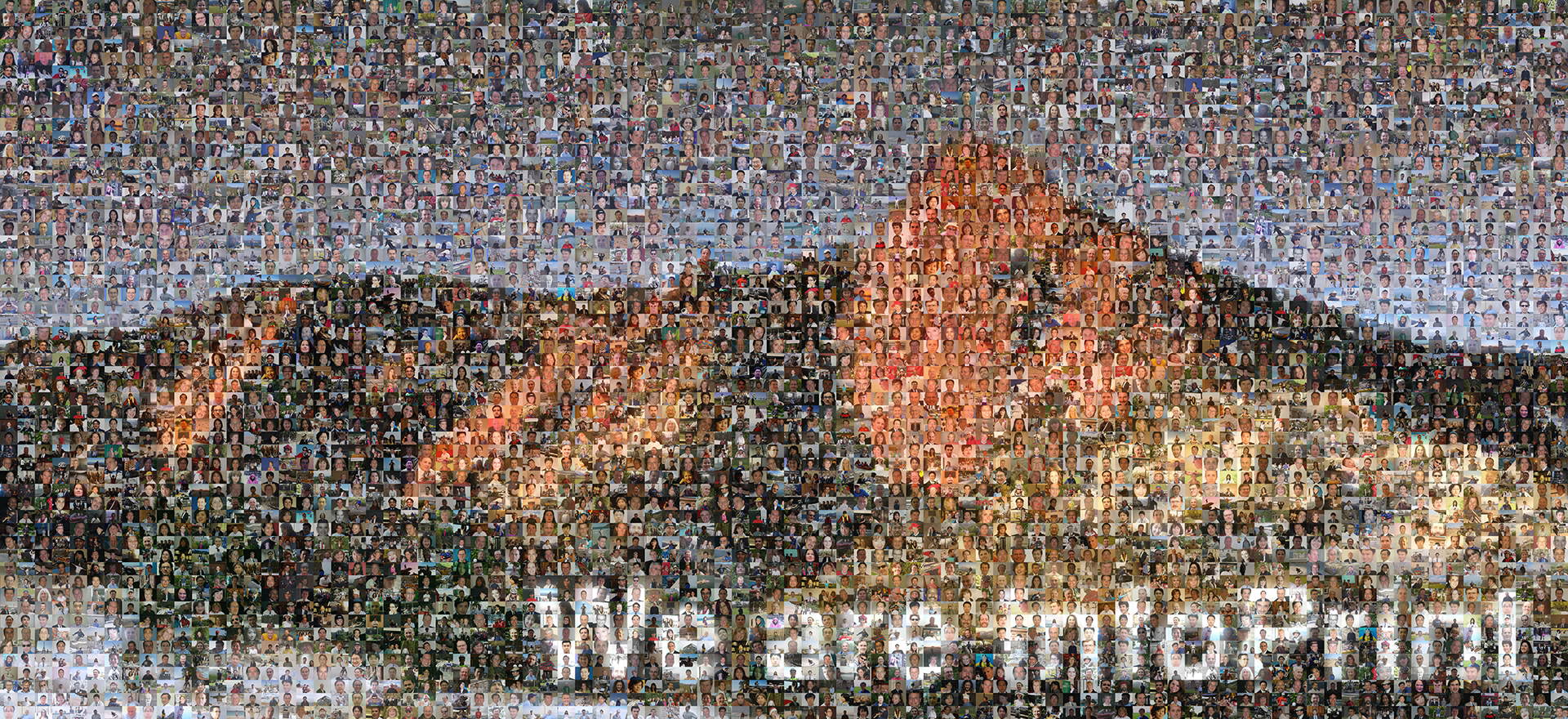 photo mosaic 44' x 96' canvas mural created using over 1600 employee submitted photos