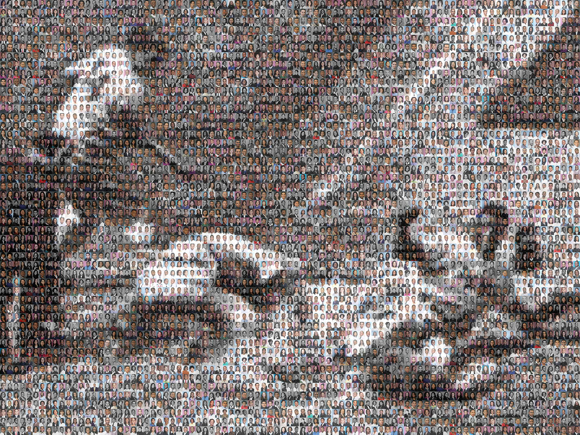 photo mosaic created using 783 student photos to commorate the famous baseball player