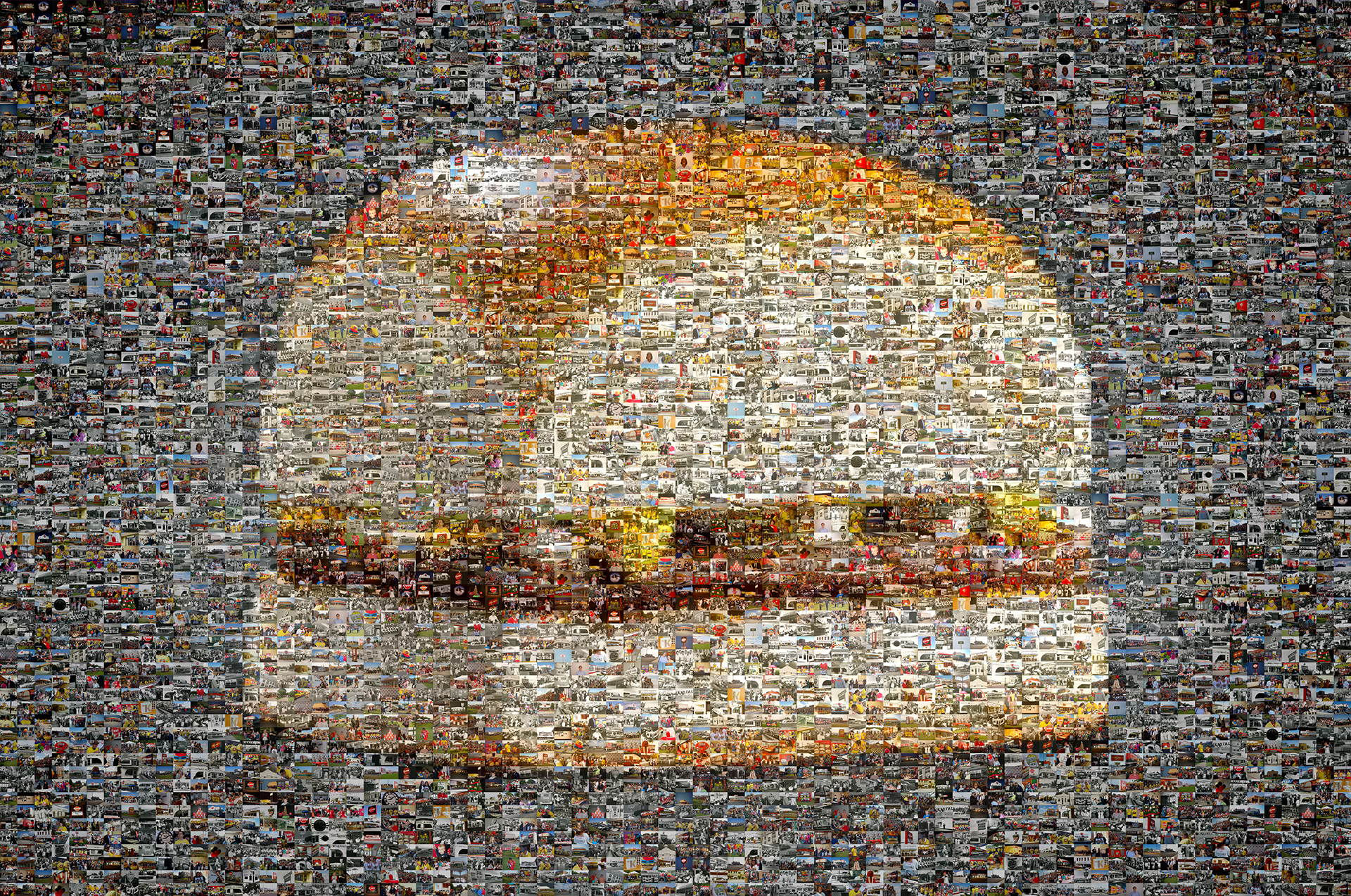 photo mosaic to celebrate 80 years of business, this mosaic was created using 745 photos