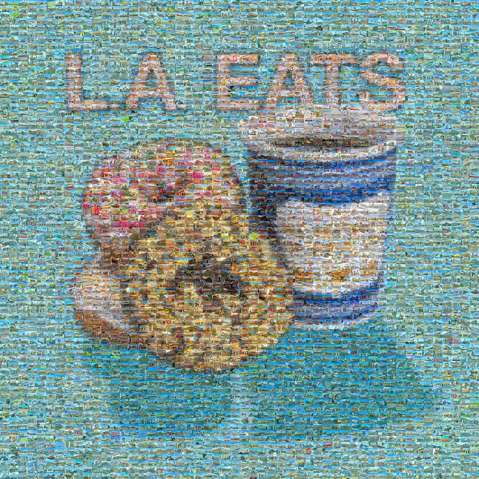 photo mosaic created using 1,163 photos of various doughnut shops and diners around L.A.