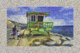 created using 682 images of vibrantly colored lifeguard stands