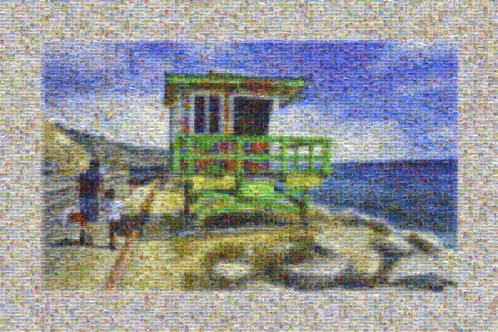 photo mosaic created using 682 images of vibrantly colored lifeguard stands