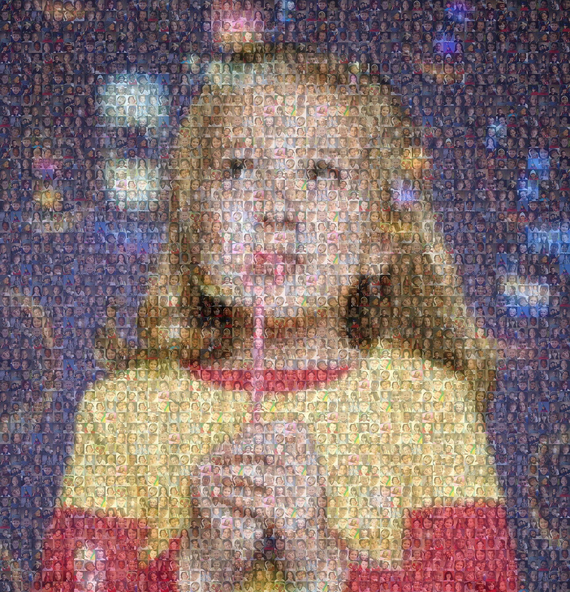 photo mosaic Fund raising mosaic poster created using only 132 photos of children