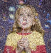 Fund raising mosaic poster created using only 132 photos of children