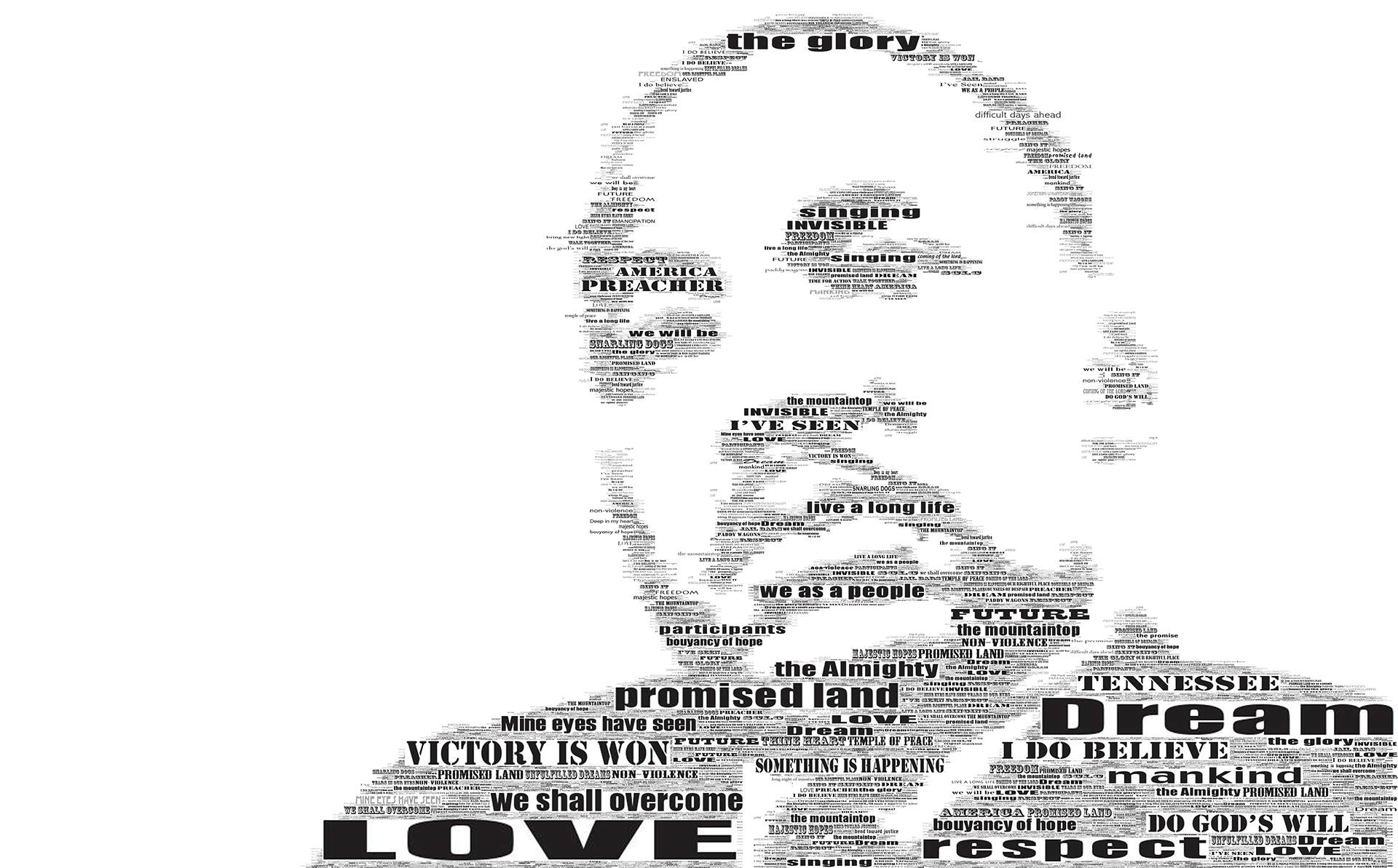 photo mosaic this multi-size text MLK tribute was created using well known phrases from his speaches