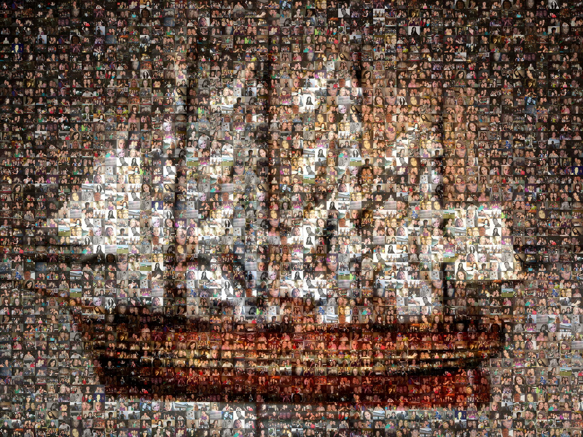 photo mosaic created using 252 photos of friends