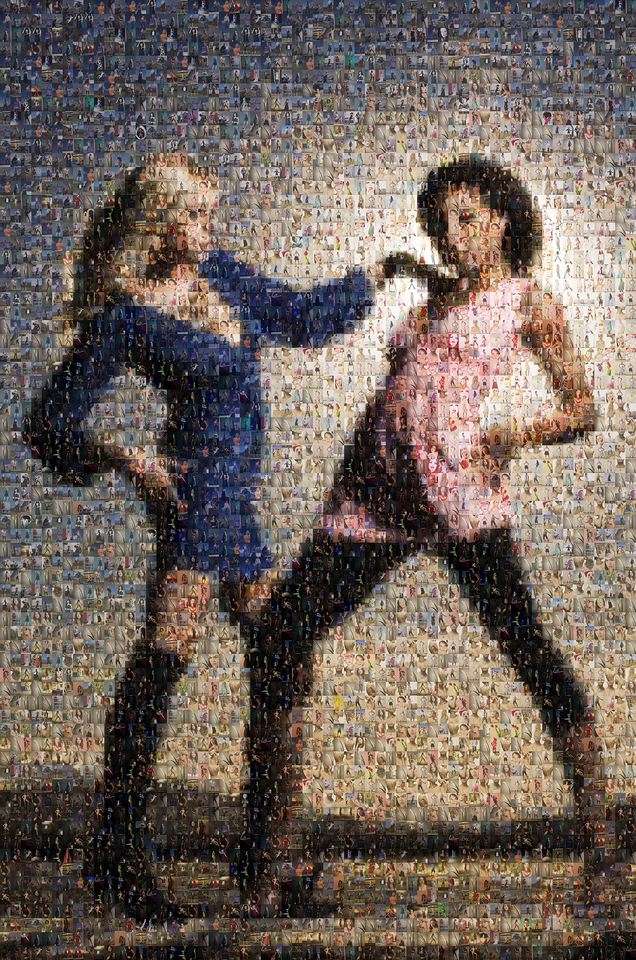 photo mosaic Two fashion models created using 432 photos of models