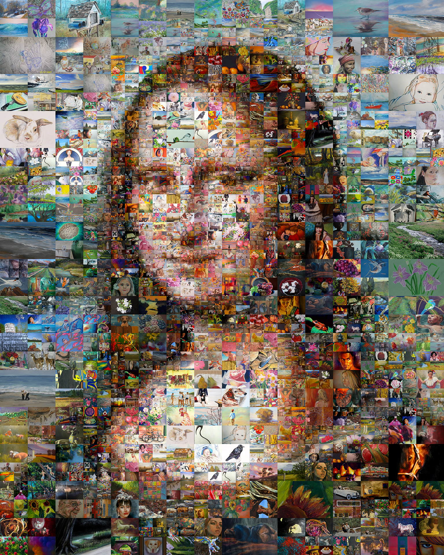 photo mosaic A multi-size cell Mona Lisa created using over 600 personal works of art