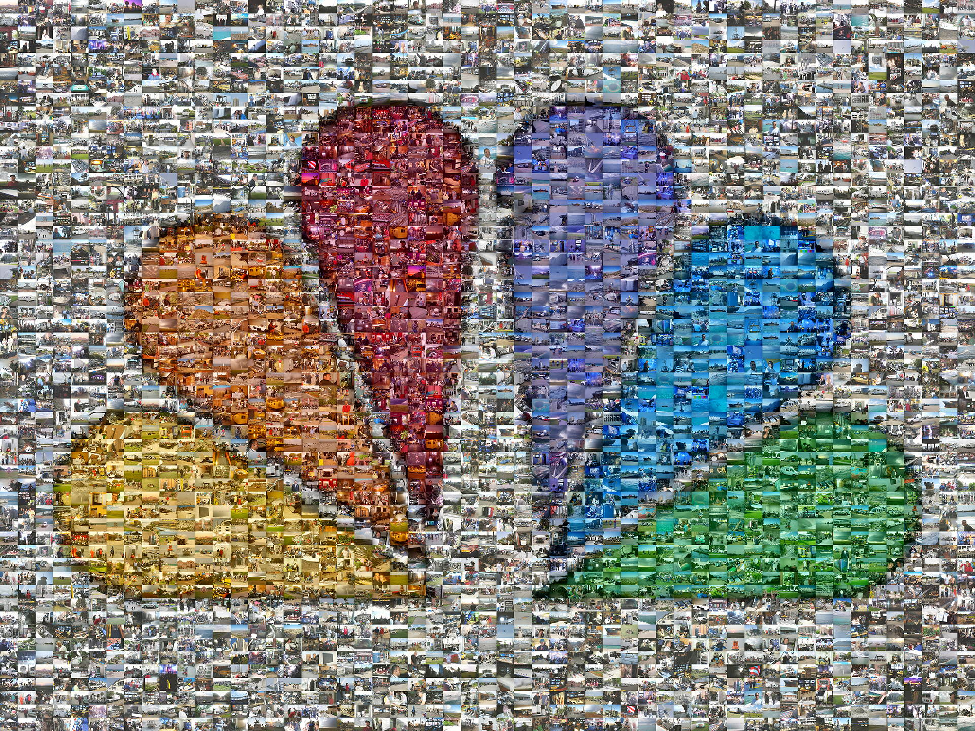 photo mosaic Famous NBC peacock mosaic using 1,951 photos of NBC behind the scenes