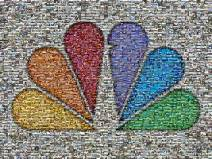 Famous NBC peacock mosaic using 1,951 photos of NBC behind the scenes