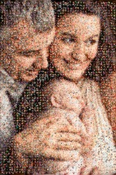 scatter mosaic created using 286 newborn baby photos