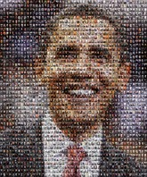 This 3-D raised cell mosaic was created using 200 images of past presidents