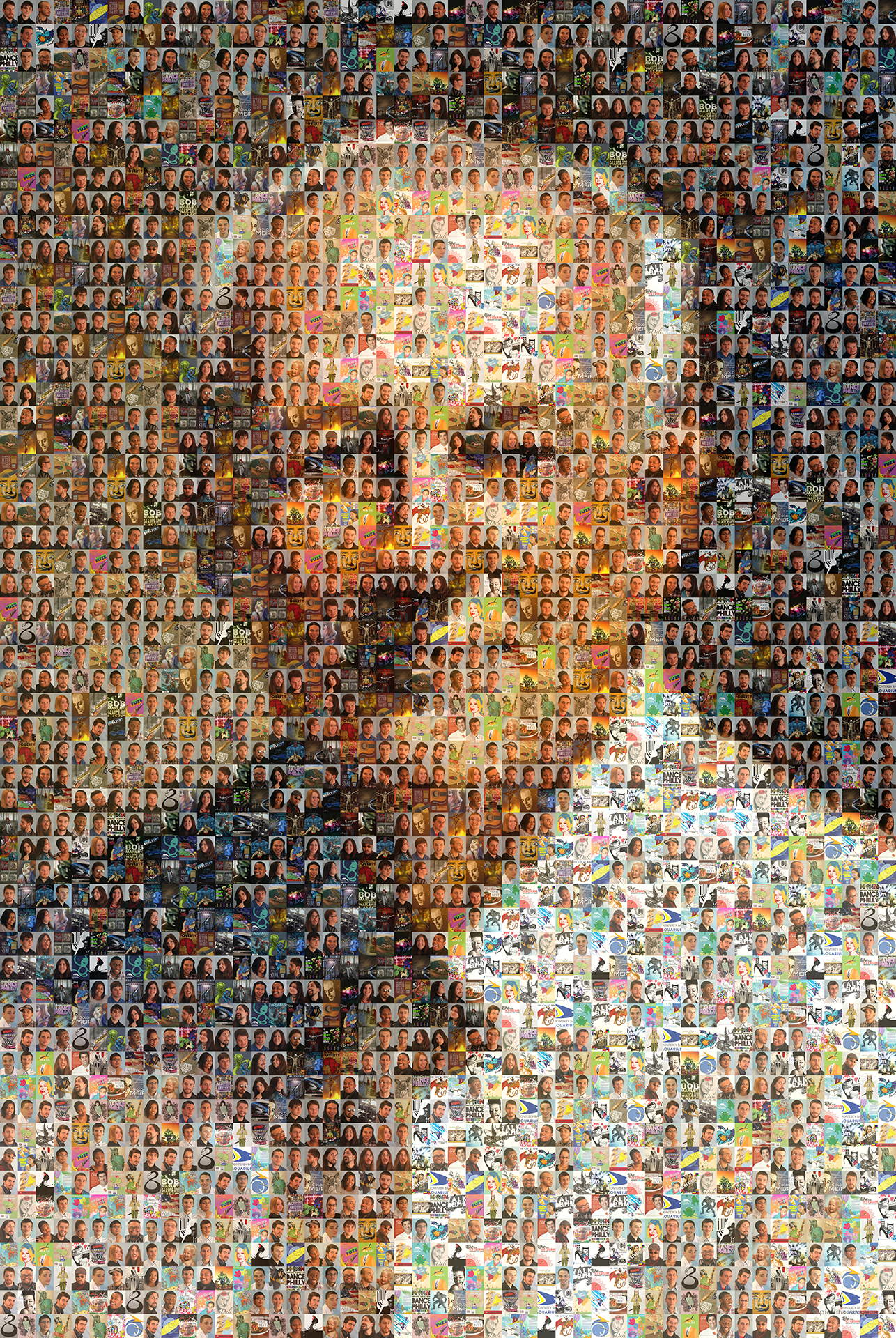 photo mosaic created using 156 student photos and their artwork