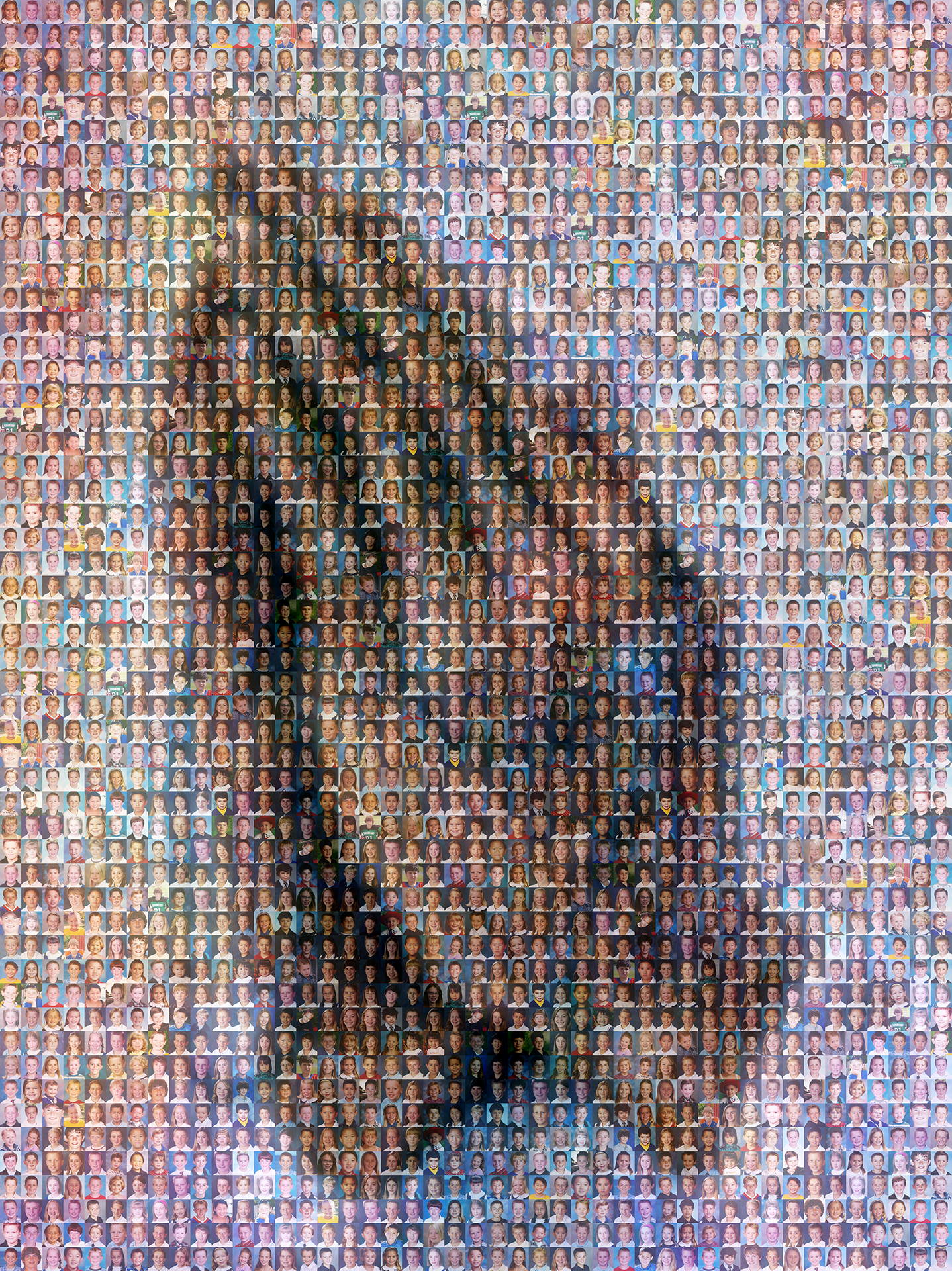 photo mosaic created using 221 student taken portraits