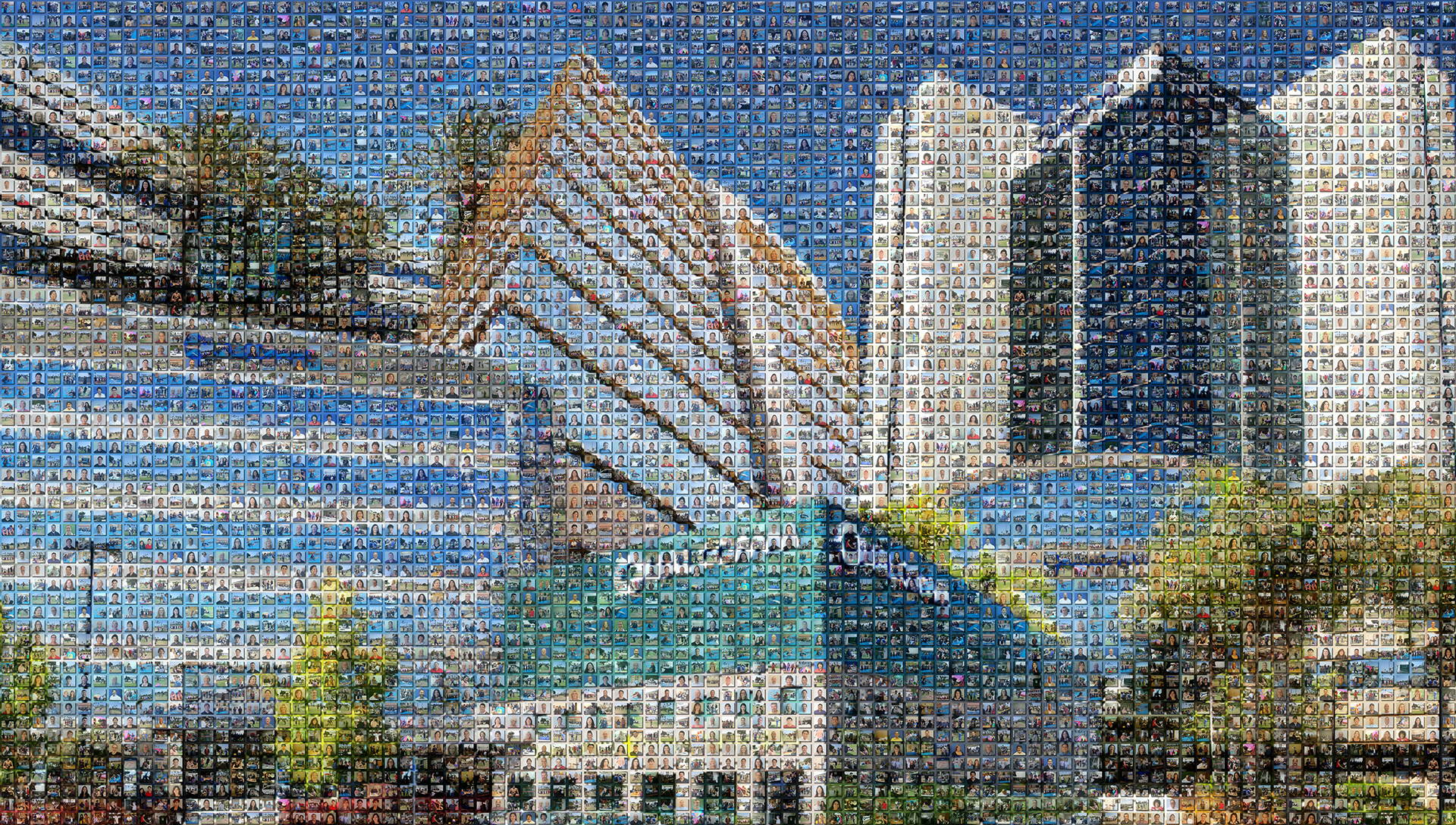 photo mosaic created using 761 employee photos