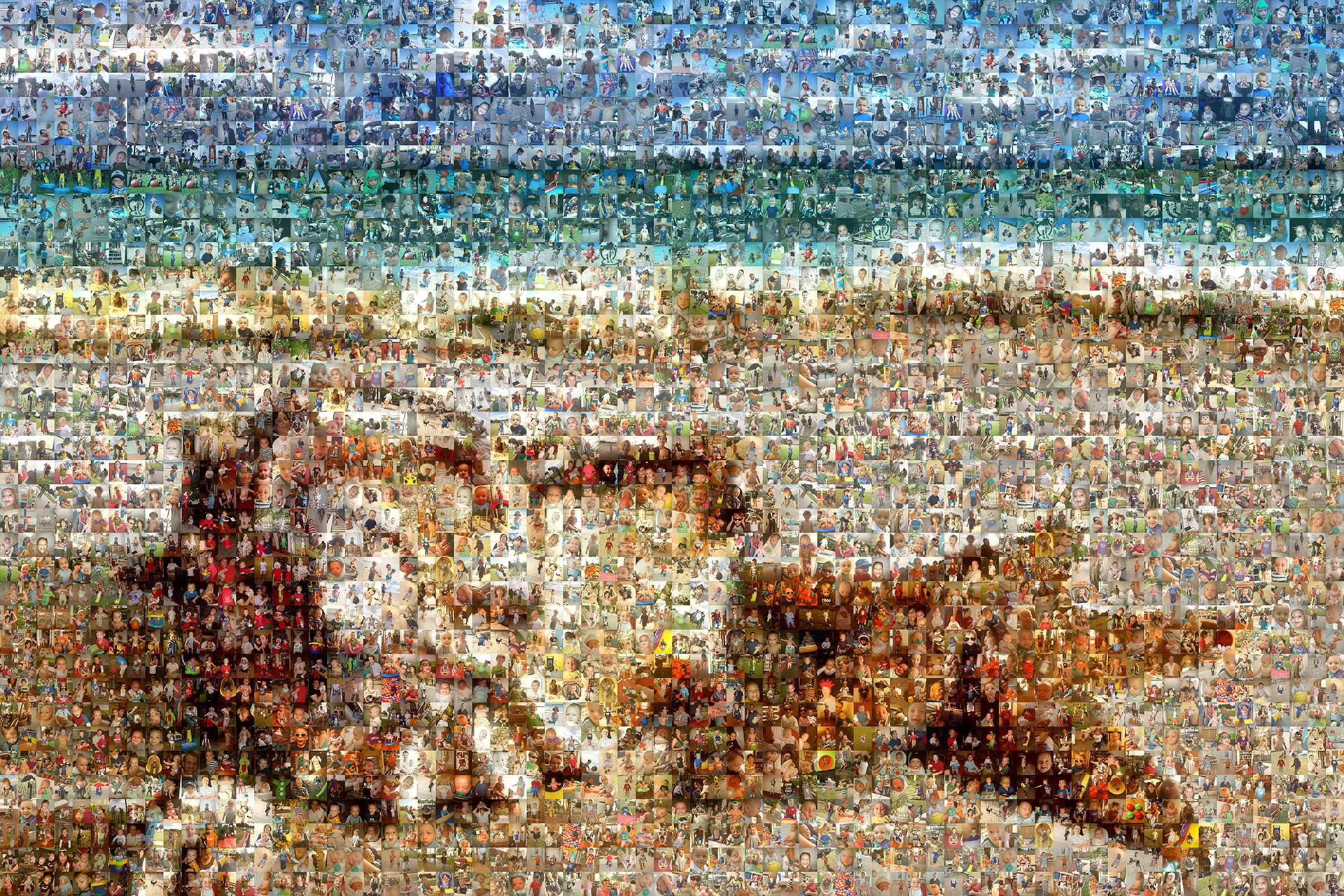 photo mosaic created using 1486 family photos