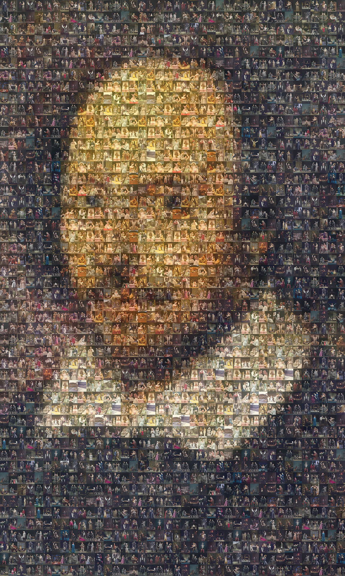 photo mosaic created using 340 photos taken during the different Shakespeare's plays to be used a playbill cover