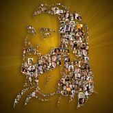 created using 161 photos of people on a custom backdrop