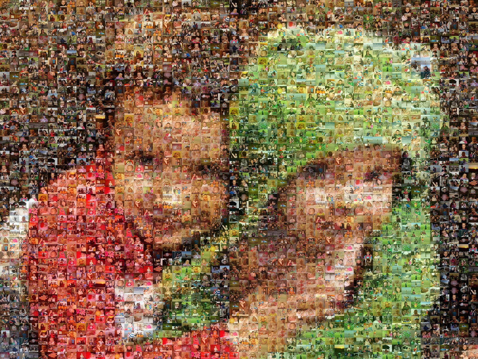 photo mosaic created using 398 family photos