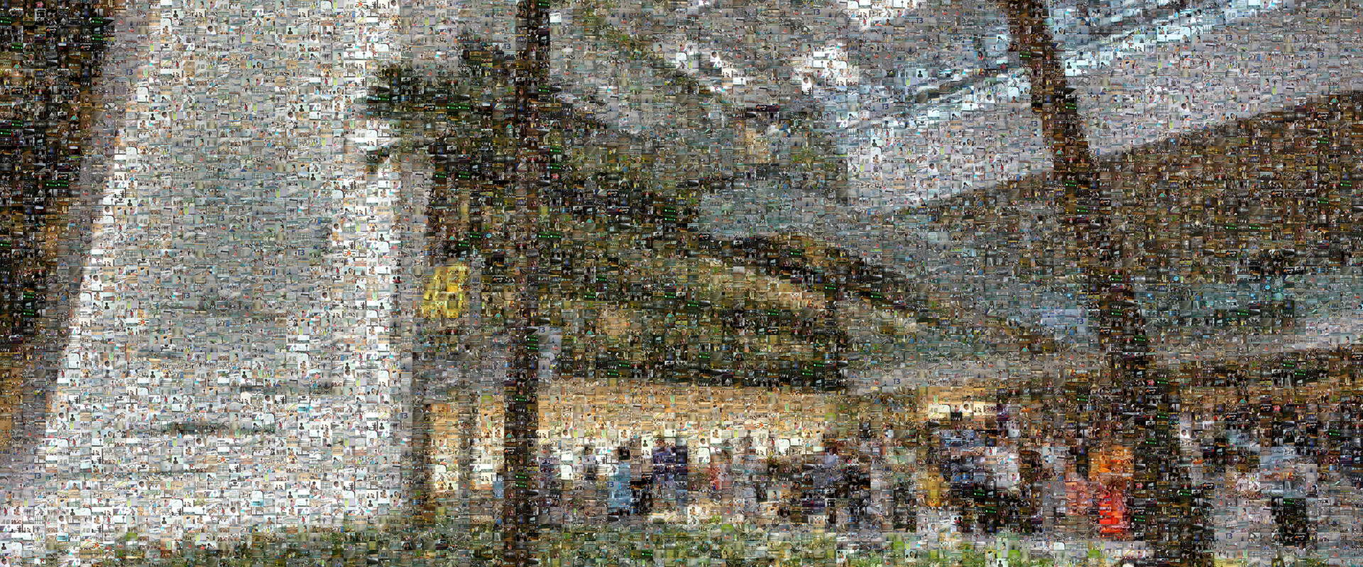 photo mosaic 12x24 foot permanent mural within the new Singapore T3 airport created using over 1100 traveler submitted photos